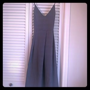 Gray V-neck spaghetti strap dress
